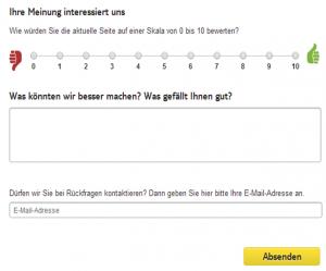 Feedback Button zum NPS von TUI.de
