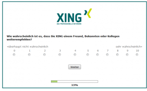 Onsite Befragung zum NPS von Xing